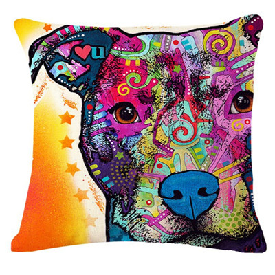 ... Colourful Artistic PitBull Pillows - Red ...