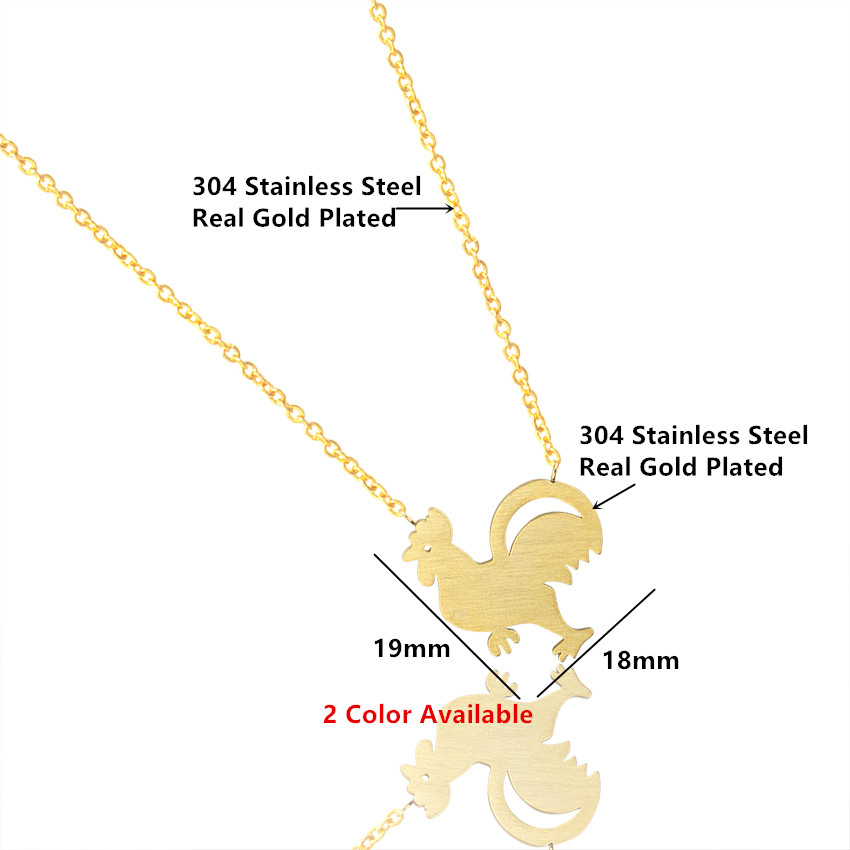 Chinese Zodiac Rooster Animal Pendant Necklace For Women Girls