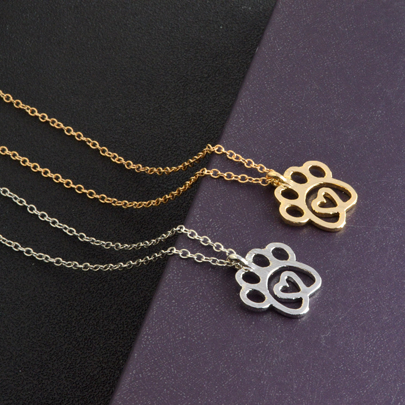 I Love Paw Necklace Gold Silver Chain Hollow Dog Paw Claw
