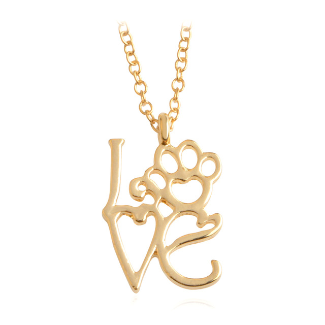 920e8a7de3 I Love Paw Necklace Gold Silver Chain Hollow Dog paw claw Heart Pendant ...